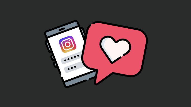 Imagem de um celular prestes a logar no Instagram (a esquerda) e um ícone de uma curtida no Instagram (a direita)