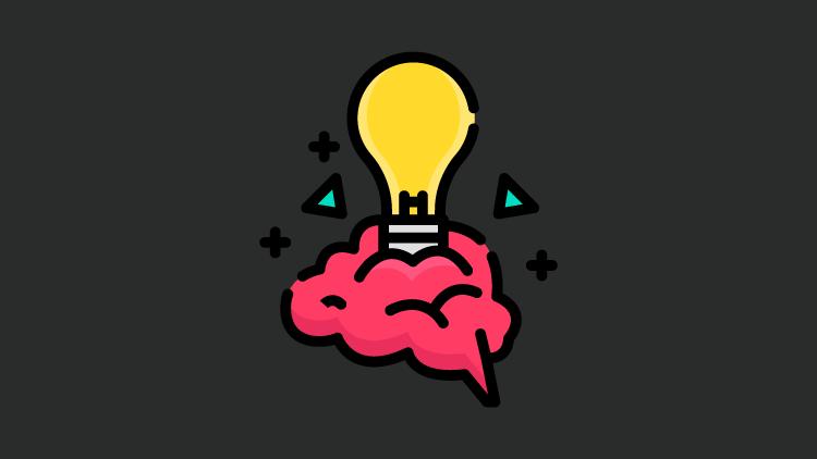 Desenho de uma lâmpada amarela dentro de uma balão com o formato de cérebro rosa em um fundo na cor grafite.