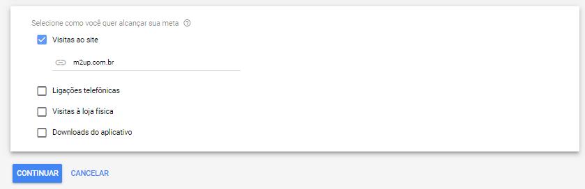 """A imagem mostra a interface do Google Ads perguntando """"como queremos alcançar a nossa meta?"""" Nas respostas, podemos responder com: acessos ao site (está selecionado), ligações telefônicas, visitas a loja ou downloads do aplicativo."""
