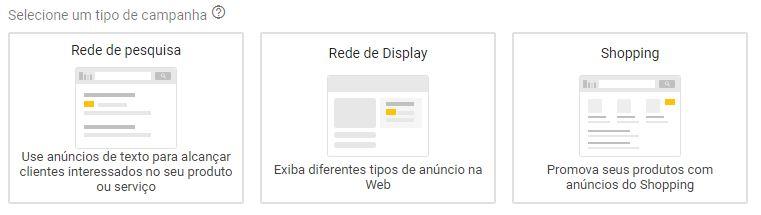 A imagem ilustra 3 tipos de campanhas: rede de pesquisa, display e shopping