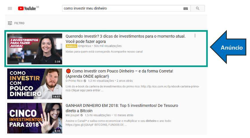A imagem ilustra um exemplo de anúncio do tipo TrueView Video Discovery. A imagem mostra os resultados da pesquisa no Youtube e, o primeiro resultado é um vídeo patrocinado (anúncio).