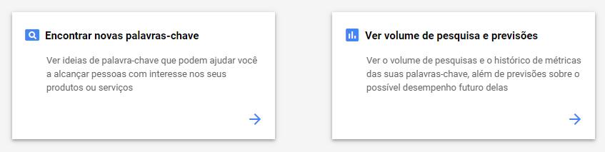 """A imagem mostra os dois principais modos do Planejador de Palavras-chave do Google Ads: """"Encontrar novas palavras-chave"""" e """"Ver volume de pesquisa e previsões"""""""