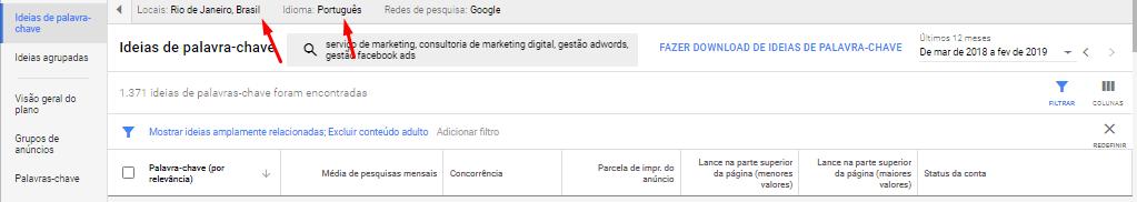"""A imagem mostra as configurações de Local e Idioma. Na imagem, foi configurado o local """"Rio de Janeiro, BR"""" e o idioma """"Português""""."""