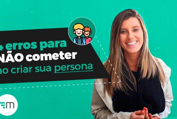 """A imagem mostra a instrutora Laura Marcon e, ao lado, o título """"4 erros para não cometer ao criar a sua persona"""". Além disso, também é possível ver um ícone simbolizando duas personas."""