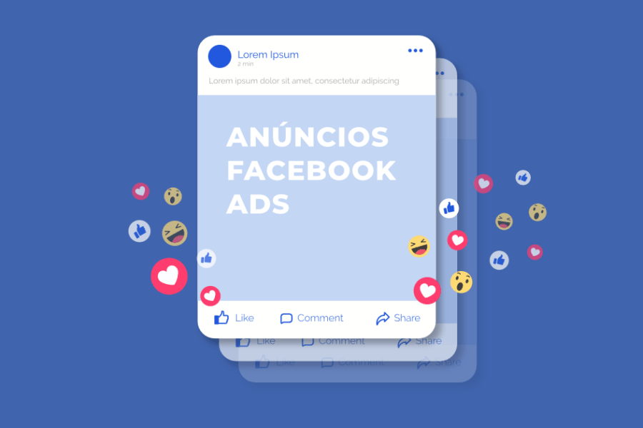 Imagem que simboliza um anúncio do Facebook Ads. No contorno do anúncio, há reações em formato de emojis, likes e coraçõezinhos.