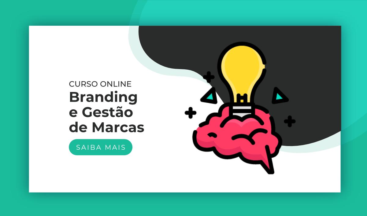"""Título """"Curso Online de Branding e Gestão de Marcas"""". Ao lado, um ícone de cérebro e lâmpada. Abaixo, um botão """"Saiba Mais"""""""