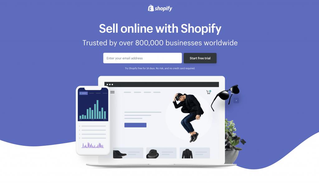 A imagem mostra um bom exemplo de uma landing page da empresa Shopify.