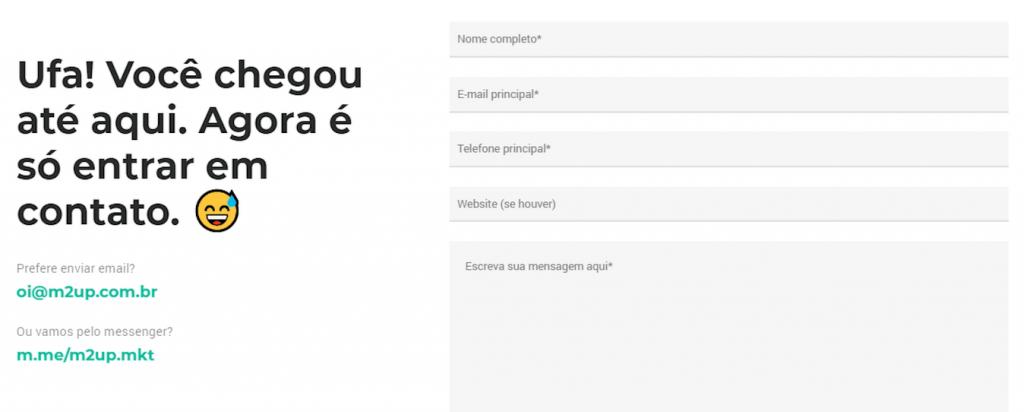 A imagem mostra um formulário de contato do site da empresa M2up.