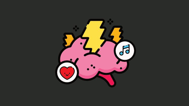 Ícone do curso de neuromarketing e gatilhos mentais: um cérebro com raios ao seu redor, junto com um coração e uma nota musical, simbolizando sentimentos e sentidos.