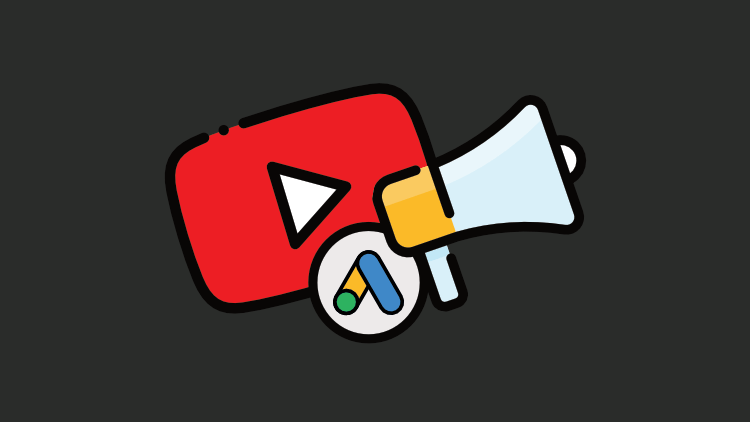 """Logotipo do Youtube, do Google Ads e um megafone simbolizando """"anúncios"""""""
