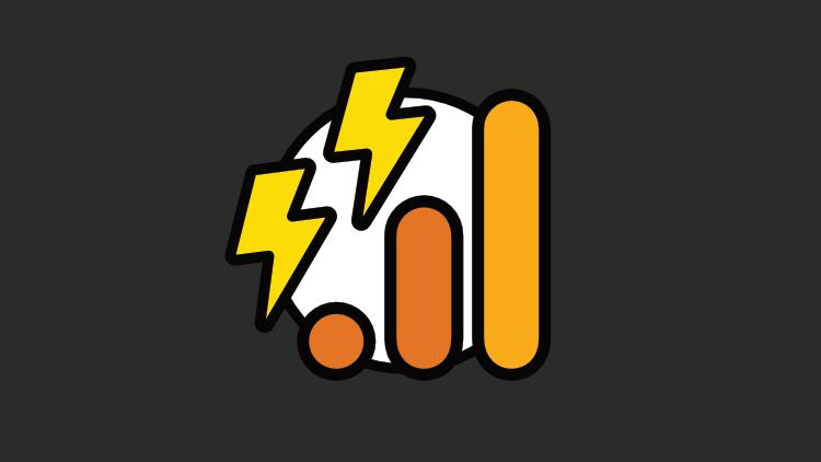 Dois ícones de raio e o símbolo da plataforma Google Analytics