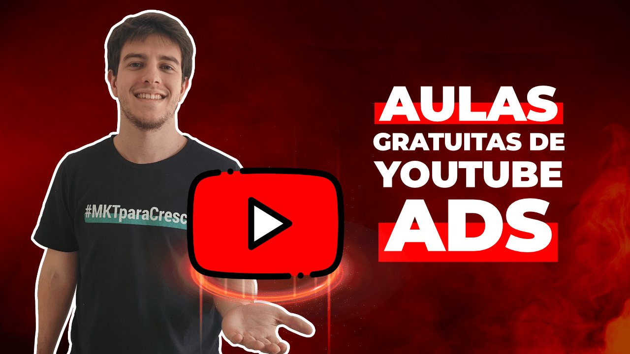 "Foto do instrutor Lourenço Azevedo segurando o logotipo do Youtube e, ao lado, o texto ""Aulas gratuitas de Youtube Ads"""