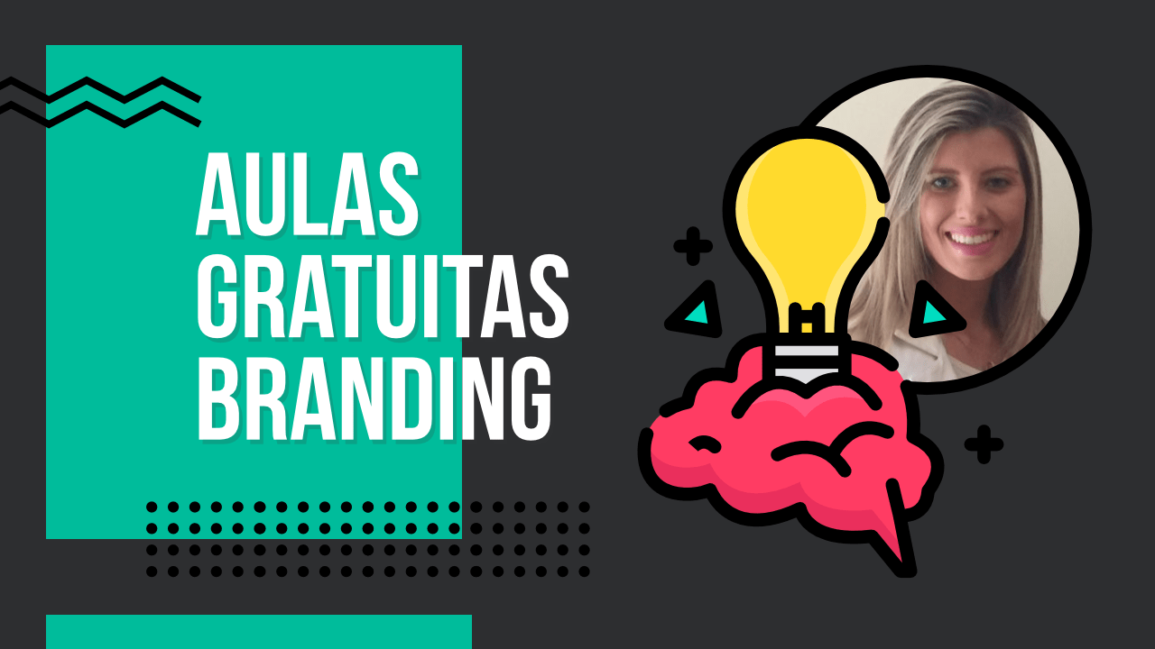 """Texto """"Aulas gratuitas de Branding"""" e, ao lado, um cérebro com um lâmpada e uma foto da Laura Marcon sorrindo."""