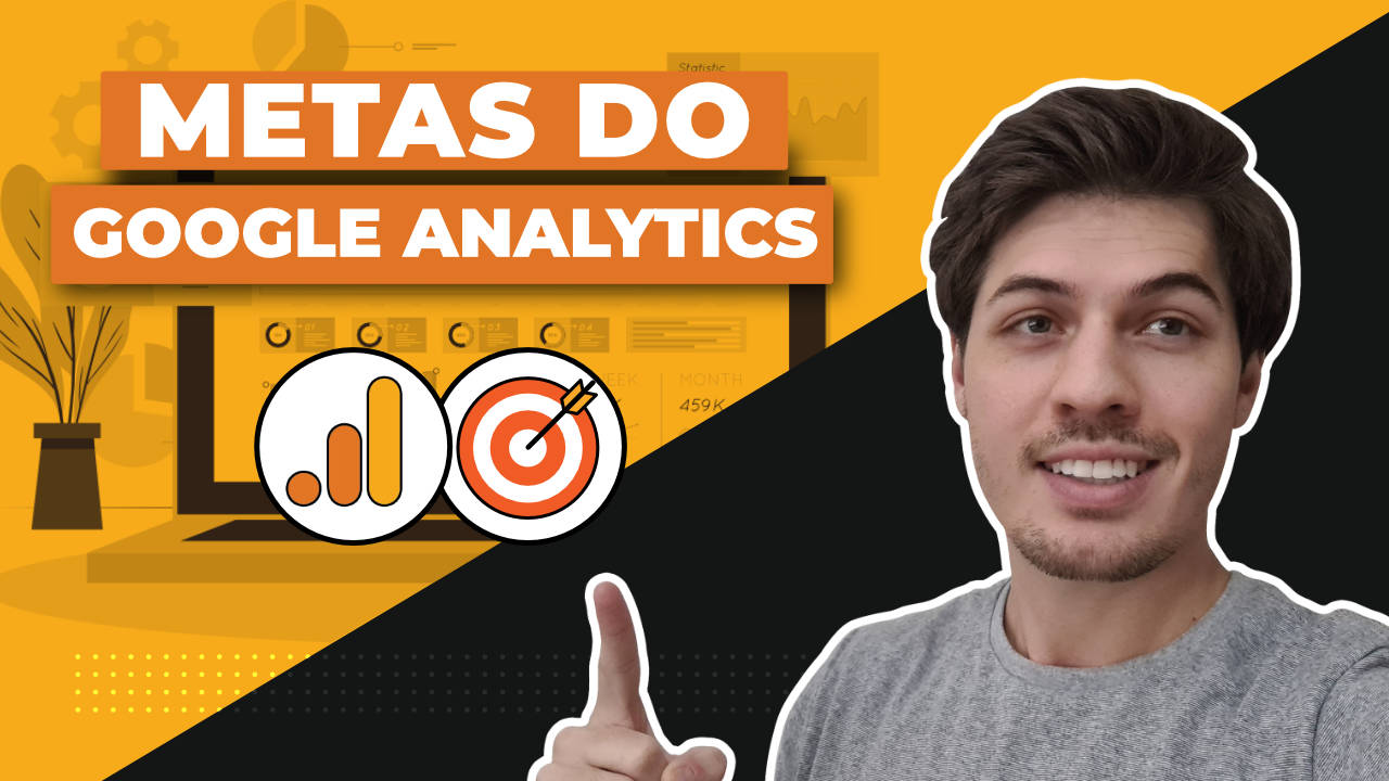 "Título ""Metas do Google Analytics"" e, ao lado, uma foto do Erick Scudero apontando para o título. Abaixo, há o logotipo do Google Analytics."