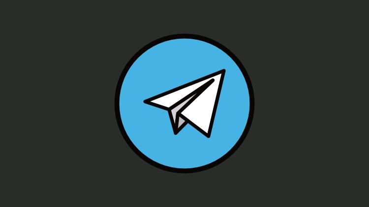 Ícone do telegram em um fundo escuro